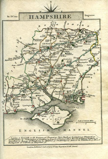Hampshire County Map by John Cary 1790 - Reproduction